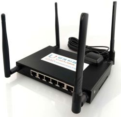 M2m Industrial Lte 4G Dual Slot para cartão SIM Roteador Roteador WiFi sem fio 4G com 5 portas LAN e porta USB, Roteador de armazenamento do cartão SD do suporte