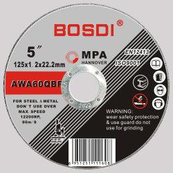 En12413 عجلة قطع مسطحة (125X1.2X22.2) مع شهادات MPA، وعجلة قطع، وقطع قطع معدنية، Inox، ورقة من الصلب، بار، فولاذ لا يصدأ، سلك، حديد.