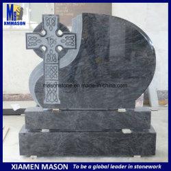 Preiswerter aufrechter Bahama blauer Granit-keltisches Kreuz-Entwurfs-Grabstein für Verkauf