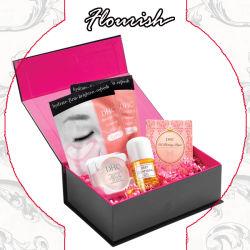 ロマンチックな女の子ピンクカラー紫色カラー深いボール紙のリボンおよび磁石の閉鎖が付いている装飾的なギフトセットの包装および記憶の紙箱