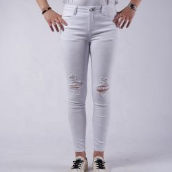 Ins Vrouwen van de Jeans van de Taille van de Keperstof de MEDIO Witte Gewassen Elastische