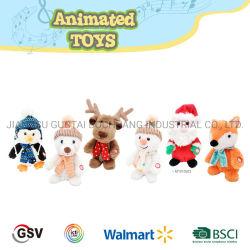 음악 장난감 펭귄 Fox 순록 눈사람 곰 산타클로스 견면 벨벳 장난감