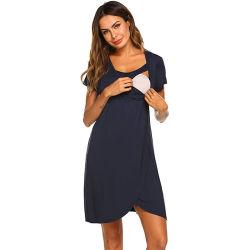 Simple personnalisé de haute qualité des prestations de maternité robe allaitement Chemise de nuit