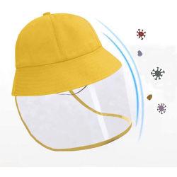 Cappello protettivo di Sun di colore giallo di sicurezza dei 2020 del commercio all'ingrosso della fabbrica bambini diretti di vendita del bambino del fronte del coperchio del cappello variopinto Anti-UV della benna in cotone fatto in Cina