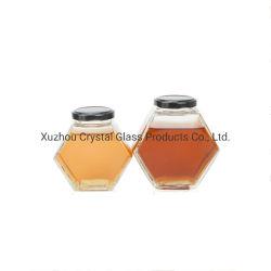 6つのOz 13のOzの金属ねじふたが付いている平らな六角形の食糧記憶の蜂蜜の瓶の込み合いのガラス瓶