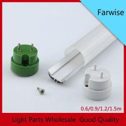 T8 круглые трубы компонент корпус из алюминия или приспособление для прозрачных очистить крышку ПК диффузии с торцевой крышки для светодиодного освещения