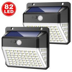 Luz nocturna alimentada a energia solar 82 candeeiro de parede exterior do LED do sensor de movimentos PIR de iluminação do Jardim da Luz Solar