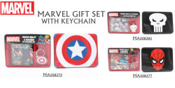 El carácter de cuero de Marvel Comics Bifold Wallet W/Caja de regalo Llavero, Money Clip y luz de flash
