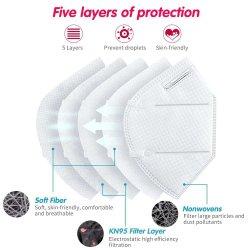 10PCS 5 capas protectoras FFP2 Mascarilla FFP1 N95 KN95 Non-Medical Non-Woven Meltblown tejido de algodón de aire caliente