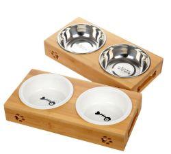 Animais de madeira e bambu pratos alimentar