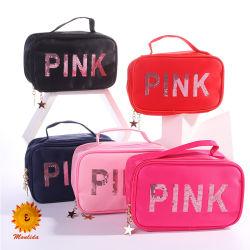 أزياء بالجملة الشعار المخصص مقاومة الماء حقيبة ماكياج الوردي القمامة حقائب النايلون التجميلية للنساء