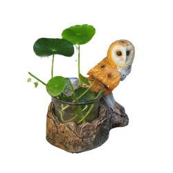 Piscina vasos de plantas Coruja de resina Plantadeira porta-canetas para decoração de jardim