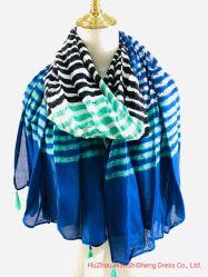 Super weicher langer Schal-gestreifter Drucken-Schal Hijab des Damen heller Diweight Schal-100%Viscose