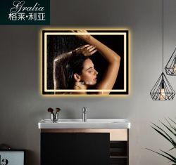 Specchio di Defogger della stanza da bagno illuminato LED con l'orologio di Digitahi dell'interruttore del sensore
