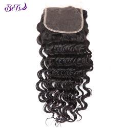 Необработанные человеческого волоса 4*4 кружевной закрытие HD кружева человеческого волоса закрытия