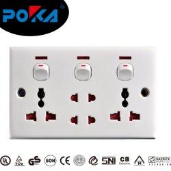 تم تضمين مثبتات مسامير مأخذ الطاقة في المقبس الجداري في مقبس USB متعدد مقبس