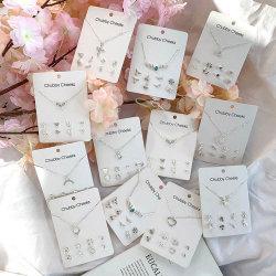 الفضة الكريستال حجر الراين الصليب القلب الثلج عقد زهرة عقد الأرانجز 5 مجموعة مجوهرات بطاقات الورق من مجموعة قطع