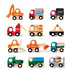 Modèle de voiture 12 voiture jouet en bois de l'Ingénierie Véhicule jouet pour enfants Mini Modèle de voiture Don de voiture