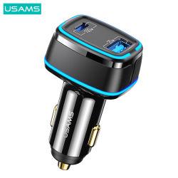 شاحن سيارة سريع السيارات 3.0 DC UMS Cc142 محول شاحن سيارة الشحن السريع USB ثنائي المنافذ بقوة 120 واط بسرعة الهواتف المحمولة