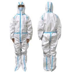 방어적인 안전 작업복 처분할 수 있는 백색 청소 두건이 있는 SMS 보호 한 벌 의류