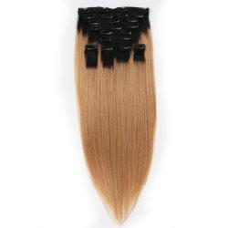 白人女性のための人間の毛髪の拡張100g/120g/140g/160g/180g/200g/220g/280g、毛の拡張の安く100%の人間の毛髪クリップの14-24inch倍によって引かれるクリップ