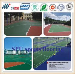 La corte di sport esterno che vernicia lo Spu resistente UV mette in mostra la pavimentazione per la corte di volano