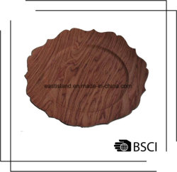 Accueil Les plaques en plastique décoratifs chargeur floral avec design en bois