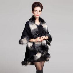 Châle en tricot de laine longue Fox dans la teinture de gradient