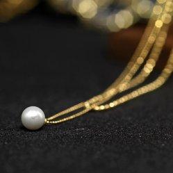 新しい到着925の銀製の金張りの真珠の倍の鎖のネックレスの方法宝石類