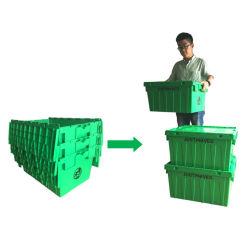 Transporte de pilha de plástico e Nest movendo o recipiente com tampa acoplada