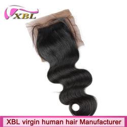 Extemely реального человеческого волоса камбоджийский шелк закрытия базы
