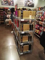 NSF Material metálico cromado pequeño supermercado de estante de pantalla