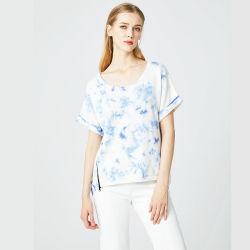 La moda de verano popular de Nueva Jersey Tie-Dye sueltos suéter de cremallera lateral