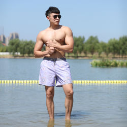 160gsm plein d'impression numérique en polyester coton taille élastique brève doublure Swimshort de l'homme