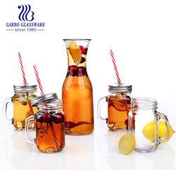 ジュースのガラス瓶7PCSの一定の飲料のガラスビンが付いている飲むびんのガラス製品のガラスメーソンジャー