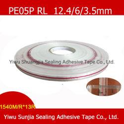 Doppelseitige Streifen, acrylsauerklebstreifen, Selbstklebriges Band, Beutel-Dichtungs-Band mit gedruckter roter Zeile (12.4/3.5/6mm)