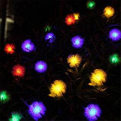 중국 공급자 소귀나무 꽃 둥근 태양 램프 RGB LED가 태양 강화한 끈에 의하여 점화한다