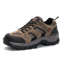 Comercio al por mayor de cuero antideslizante resistente de escalada de los hombres transpirable zapatos deportivos Zapatos de trekking en el exterior de la moda