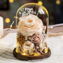 Conservas de carnes frescas de flor em um copo, Rosas Real artesanais, com uma bonita caixa de oferta, para seu casamento,Dia dos namorados,natal,Aniversário,aniversário o dia da Mãe