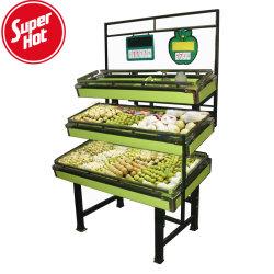 Il disegno dei basamenti di frutta del metallo del supermercato ha asciugato la visualizzazione di verdure del cestino