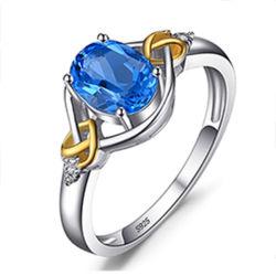Gold überzogener Ring 18K mit Topaz-Form-Schmucksachen/Zubehör/Geschenk mit Ohrring