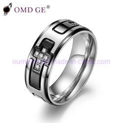 Croix noir bijoux diamant Bague en acier pour les hommes