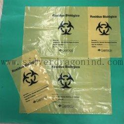 Sac à déchets médicaux de couleur jaune avec logo biologique des déchets