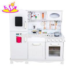 Nova chegada fingir desempenhar de madeira branca grande cozinha de brinquedos para crianças W10C409