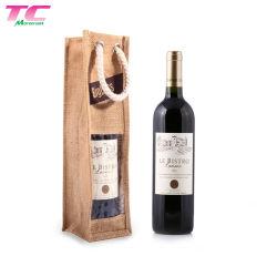 Logotipo personalizado arpillera Natural Bolso portador de la botella de vino con doble cadena para Travlling y de regalo