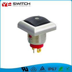 電子防水正方形プッシュボタンスイッチ、 LED ライト付き