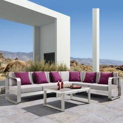 Mobiliário de exterior em alumínio escovado Jardim de Canto Sofá mobiliário com mesa de café
