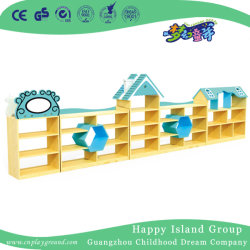 Casa Azul escolar Armário para armazenamento de brinquedos de madeira combinação (HJ-5003)