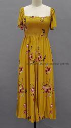 100% Rayon MIDI jurk met shirred Cap Sleeve Allover bedrukt Met Mustard Rose