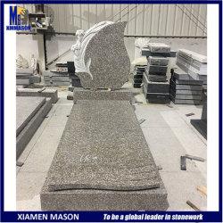 Design moderno de estilo europeu lápide em granito preto absoluto com a escultura de lâminas